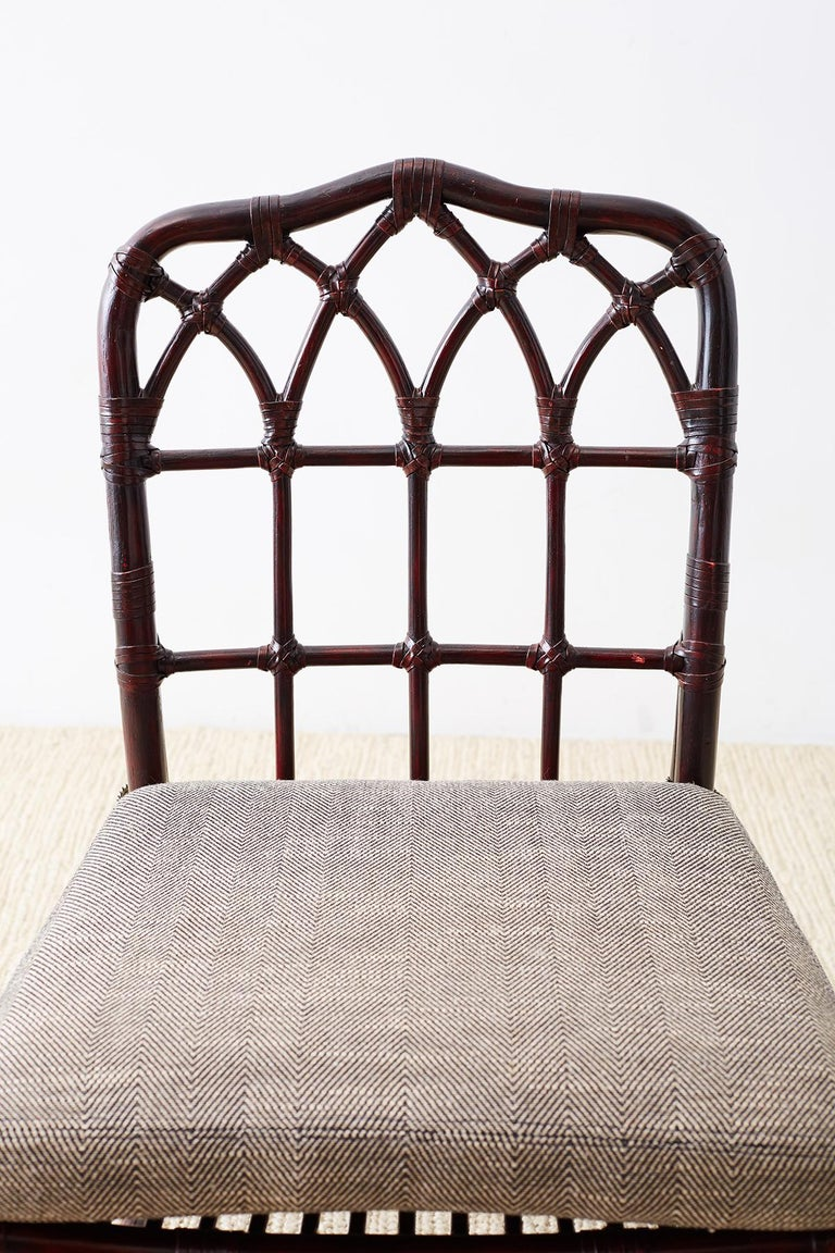 Set of Four McGuire Lacquered Bamboo Dining Chairs For Sale 9