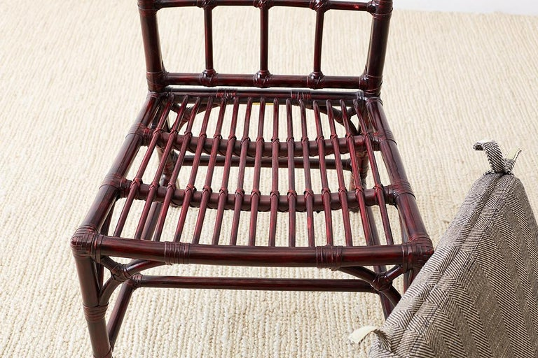 Set of Four McGuire Lacquered Bamboo Dining Chairs For Sale 11