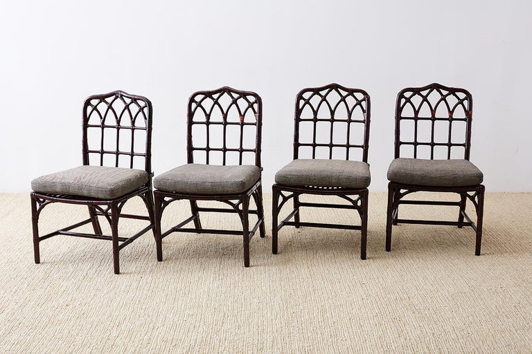 Hollywood Regency Set of Four McGuire Lacquered Bamboo Dining Chairs For Sale