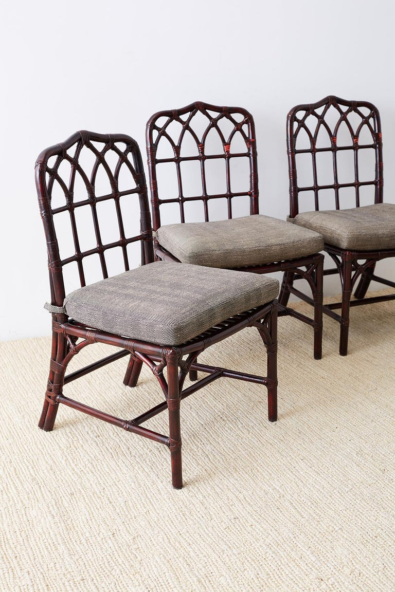 American Set of Four McGuire Lacquered Bamboo Dining Chairs For Sale