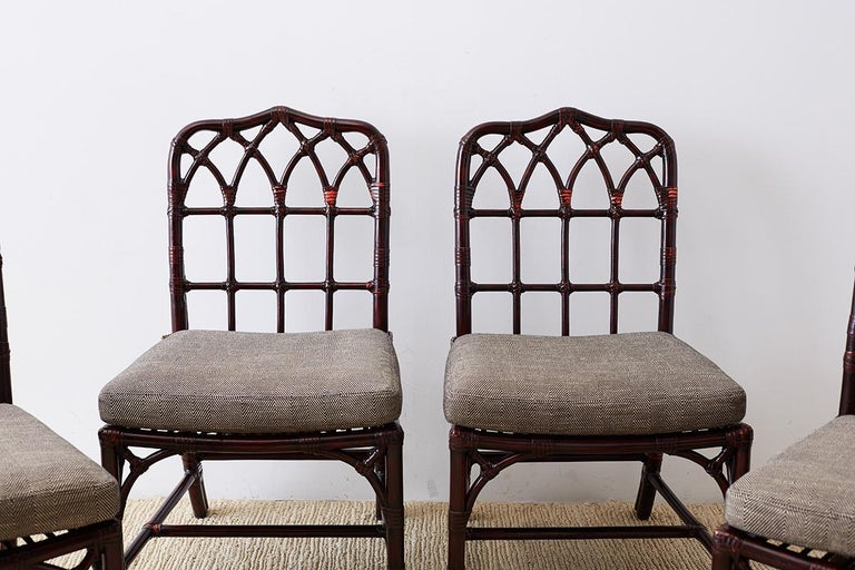 Hand-Crafted Set of Four McGuire Lacquered Bamboo Dining Chairs For Sale