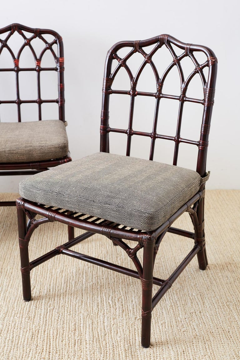 Set of Four McGuire Lacquered Bamboo Dining Chairs In Good Condition For Sale In Oakland, CA