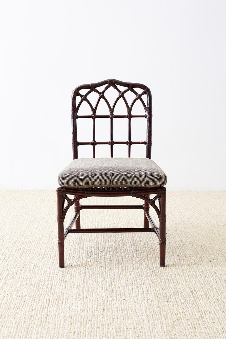 20th Century Set of Four McGuire Lacquered Bamboo Dining Chairs For Sale