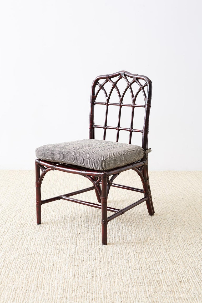 Set of Four McGuire Lacquered Bamboo Dining Chairs For Sale 2