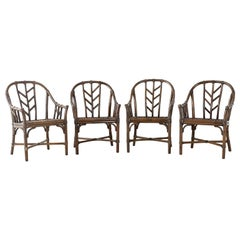 Set of Four McGuire Organic Modern Rattan Dining Chairs