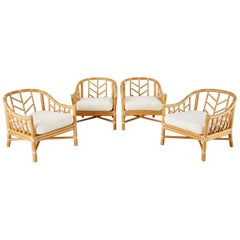 Set of Four McGuire Organic Modern Rattan Lounge Chairs