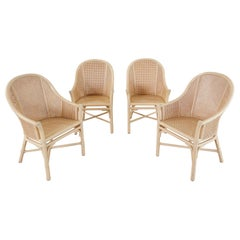 Set of Four McGuire Rattan and Cane Barrel Dining Chairs