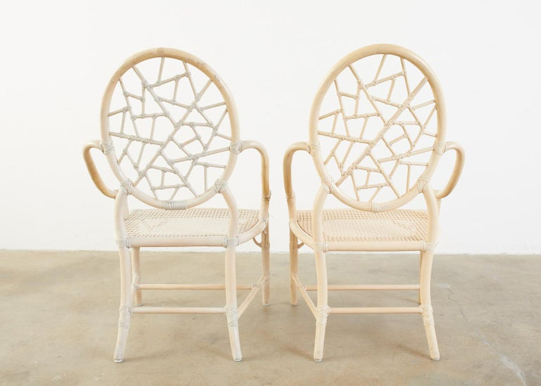Set of Four McGuire Rattan Cane Cracked Ice Dining Chairs For Sale 5