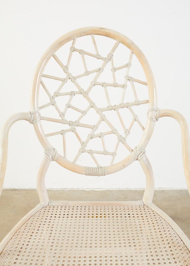 Set of Four McGuire Rattan Cane Cracked Ice Dining Chairs For Sale 6