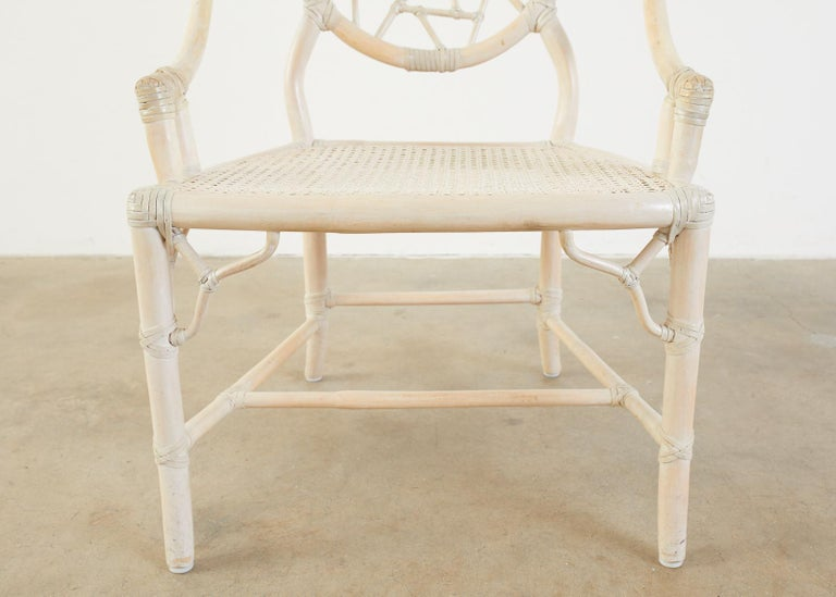 Set of Four McGuire Rattan Cane Cracked Ice Dining Chairs For Sale 7