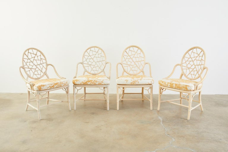 Set of Four McGuire Rattan Cane Cracked Ice Dining Chairs For Sale 11