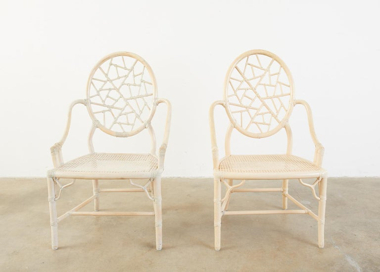 Set of Four McGuire Rattan Cane Cracked Ice Dining Chairs In Good Condition For Sale In Rio Vista, CA