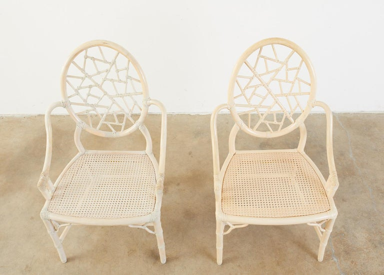 20th Century Set of Four McGuire Rattan Cane Cracked Ice Dining Chairs For Sale
