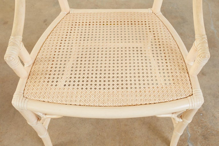 Set of Four McGuire Rattan Cane Cracked Ice Dining Chairs For Sale 1