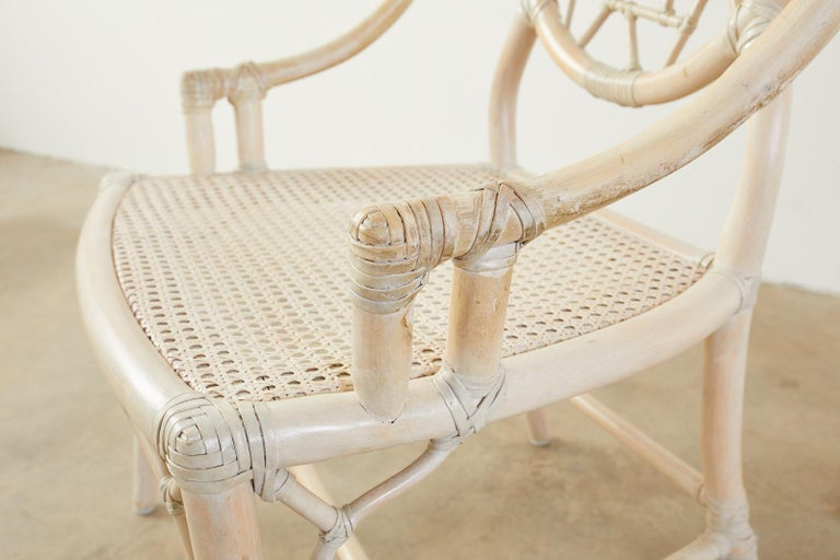 Set of Four McGuire Rattan Cane Cracked Ice Dining Chairs For Sale 2