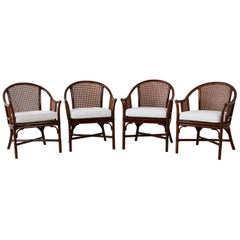 Set of Four McGuire Rattan Cane Horseshoe Lounge Chairs