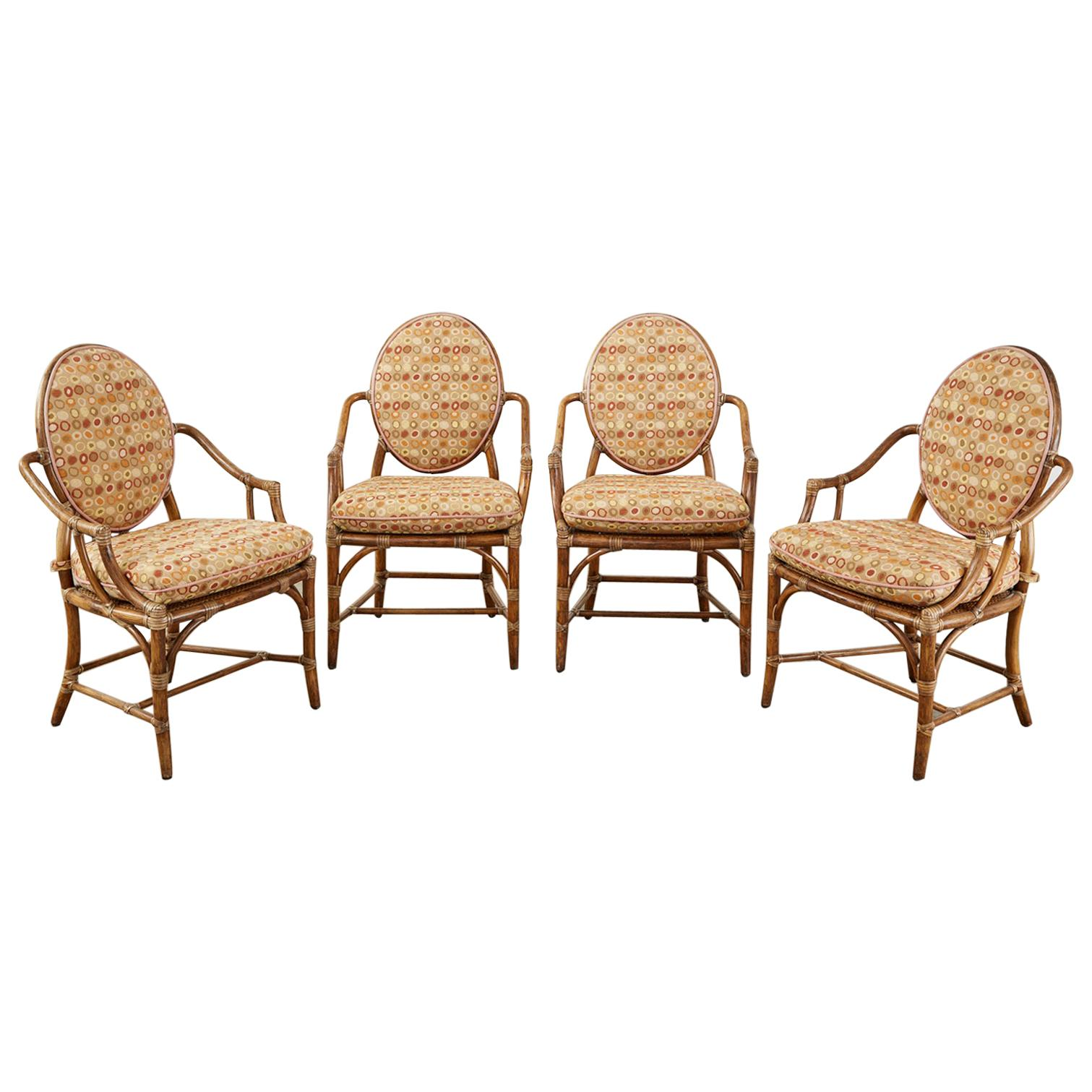 Set of Four McGuire Rattan Cane Oval Back Dining Armchairs