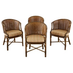 Set of Four McGuire Rattan Caned Organic Modern Armchairs