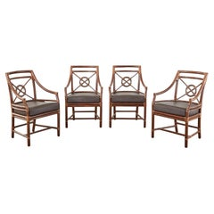 Set of Four McGuire Rattan Leather Target Dining Armchairs