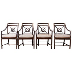 Set of Four McGuire Rattan Leather Target Dining Chairs