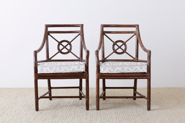 Set of Four McGuire Rattan Target Back Dining Chairs For Sale 2