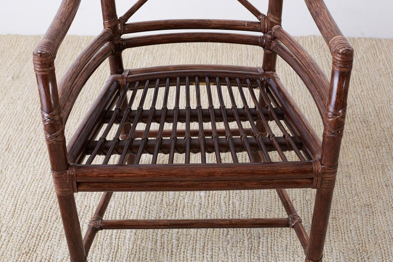Set of Four McGuire Rattan Target Back Dining Chairs For Sale 10