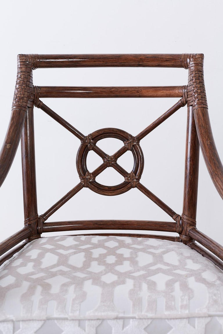 American Set of Four McGuire Rattan Target Back Dining Chairs For Sale