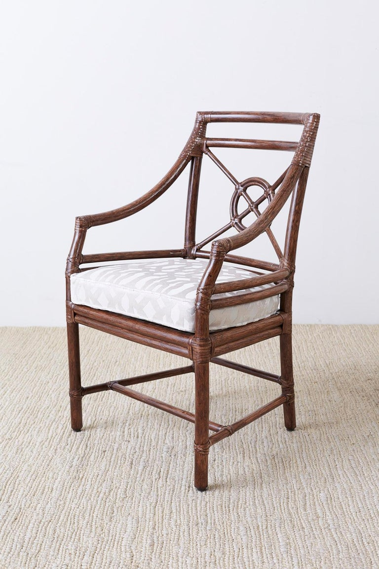 Set of Four McGuire Rattan Target Back Dining Chairs In Good Condition For Sale In Oakland, CA