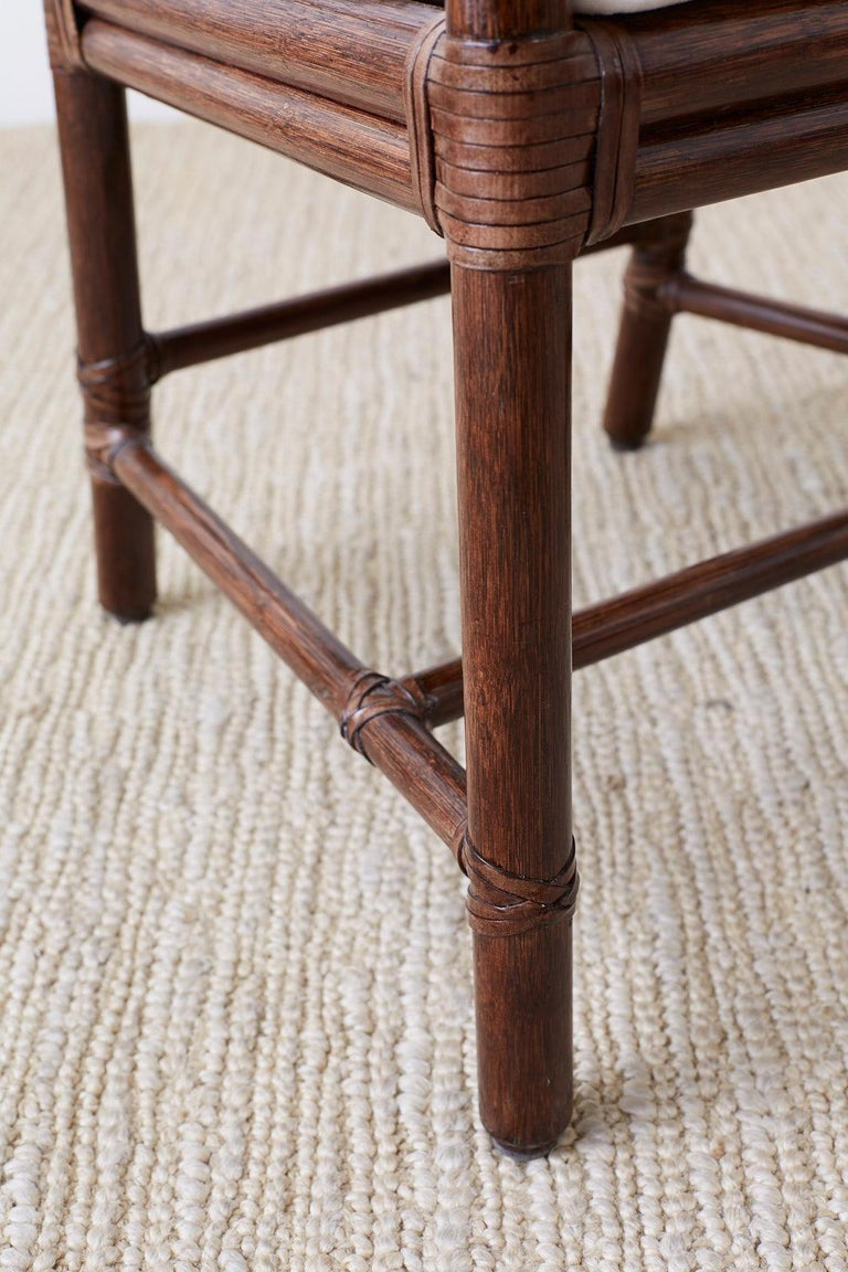 Set of Four McGuire Rattan Target Back Dining Chairs For Sale 1