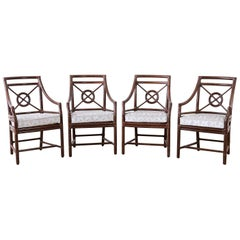 Set of Four McGuire Rattan Target Back Dining Chairs