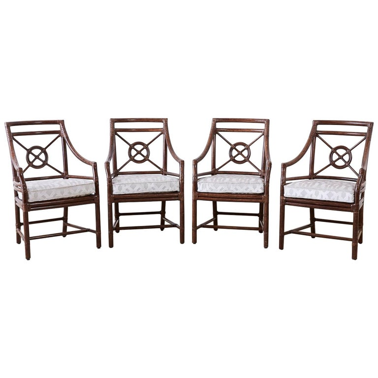 Set of Four McGuire Rattan Target Back Dining Chairs For Sale