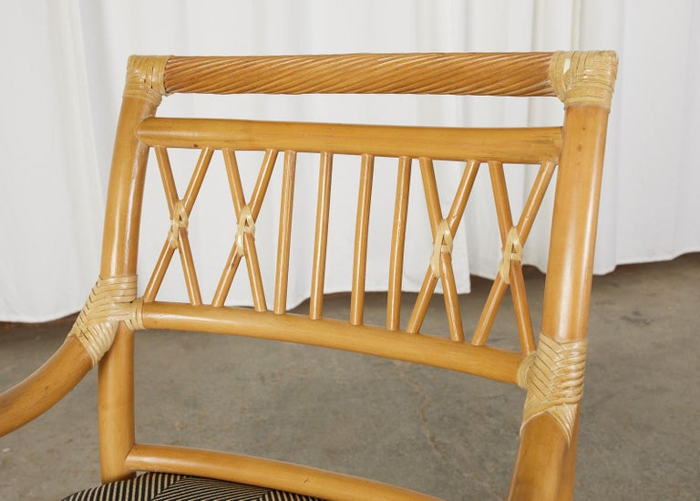 Set of Four McGuire Style Bamboo Rattan Dining Armchairs For Sale 3