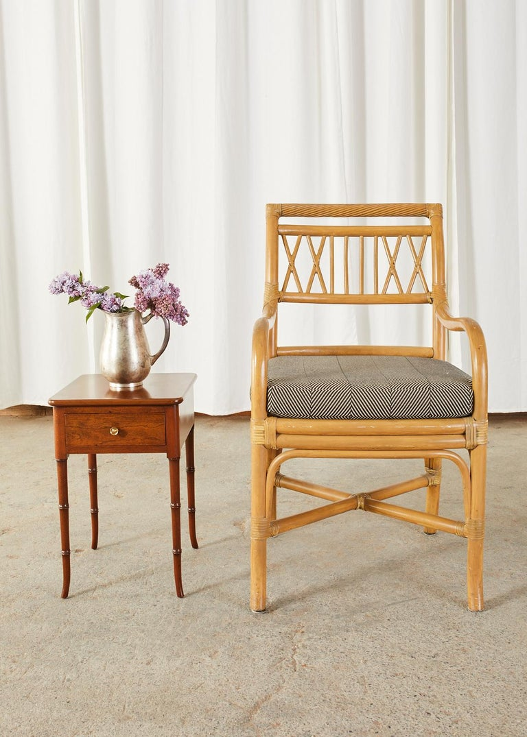 Set of Four McGuire Style Bamboo Rattan Dining Armchairs For Sale 4