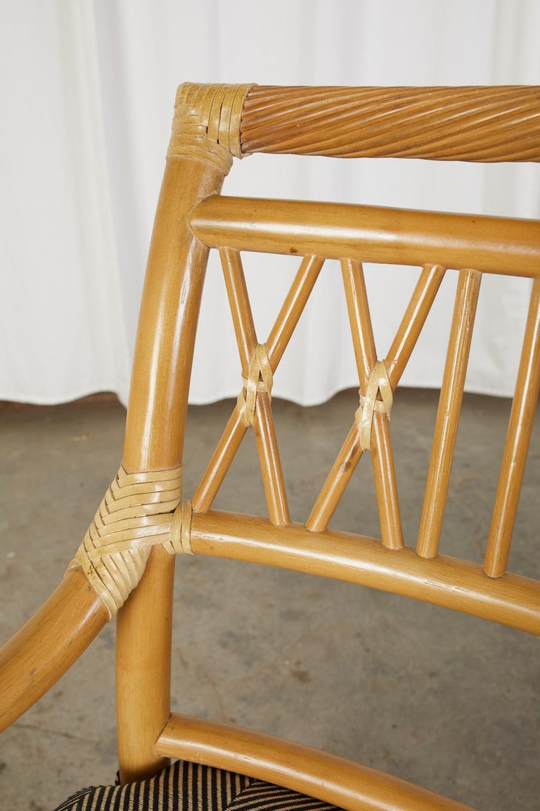 Set of Four McGuire Style Bamboo Rattan Dining Armchairs For Sale 5