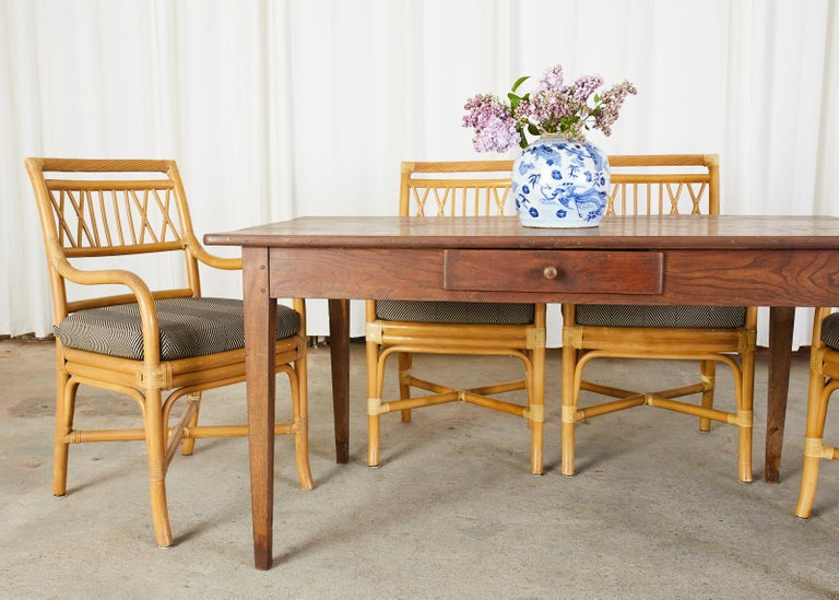 Set of Four McGuire Style Bamboo Rattan Dining Armchairs For Sale 8