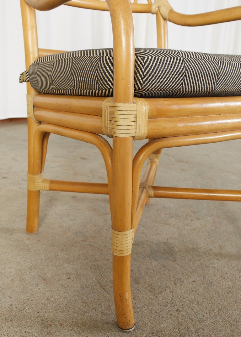 Set of Four McGuire Style Bamboo Rattan Dining Armchairs For Sale 9