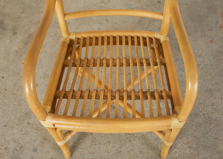 Set of Four McGuire Style Bamboo Rattan Dining Armchairs For Sale 10