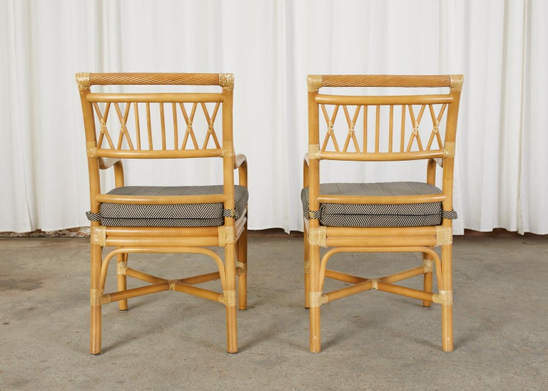 Set of Four McGuire Style Bamboo Rattan Dining Armchairs For Sale 11