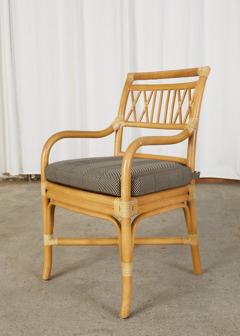 Organic Modern Set of Four McGuire Style Bamboo Rattan Dining Armchairs For Sale