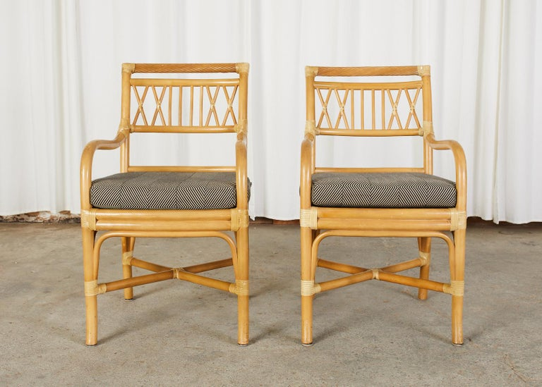 Hand-Crafted Set of Four McGuire Style Bamboo Rattan Dining Armchairs For Sale