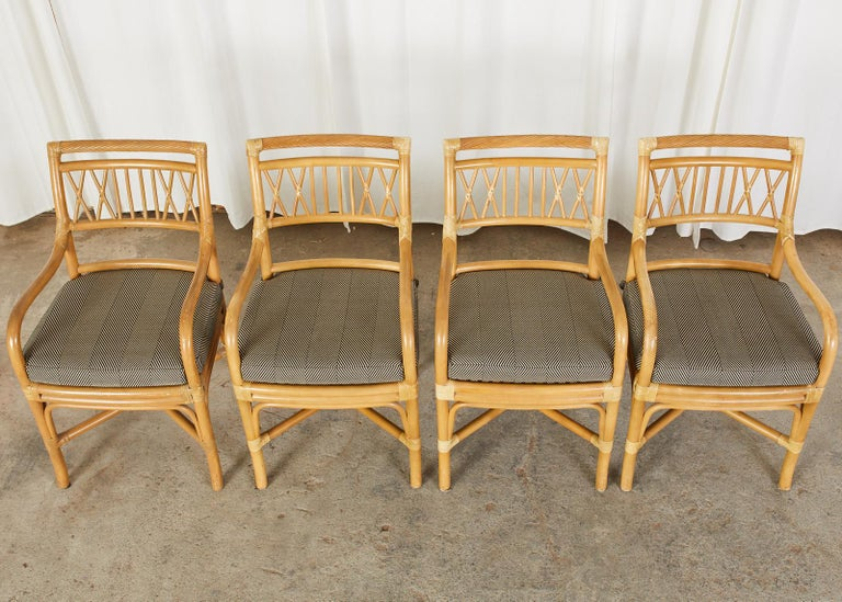Set of Four McGuire Style Bamboo Rattan Dining Armchairs In Good Condition For Sale In Rio Vista, CA