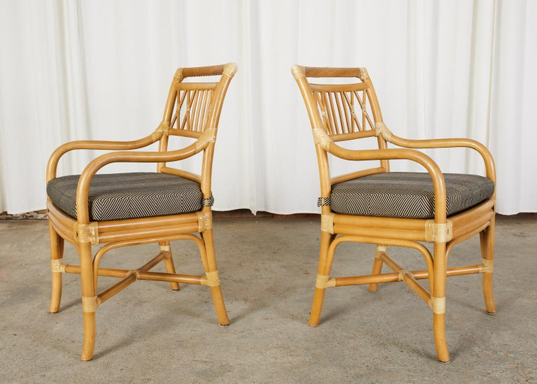 20th Century Set of Four McGuire Style Bamboo Rattan Dining Armchairs For Sale