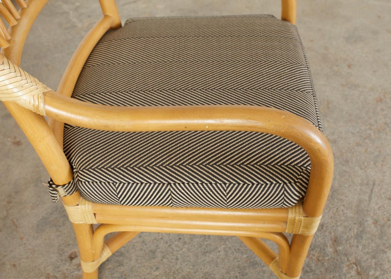 Leather Set of Four McGuire Style Bamboo Rattan Dining Armchairs For Sale