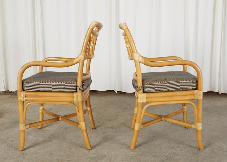 Set of Four McGuire Style Bamboo Rattan Dining Armchairs For Sale 1