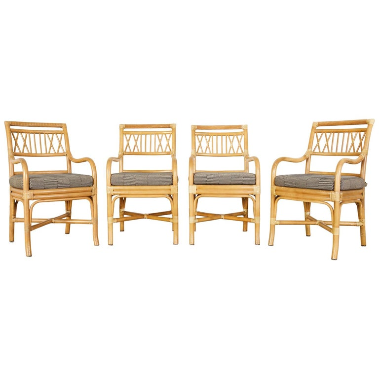 Set of Four McGuire Style Bamboo Rattan Dining Armchairs For Sale