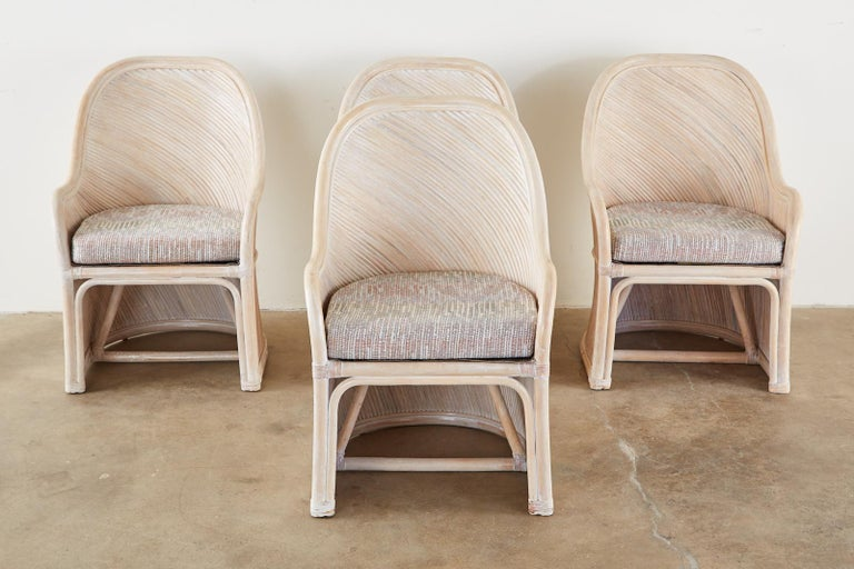American Set of Four McGuire Style Cerused Rattan Lounge Dining Chairs For Sale