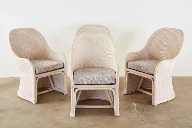 Hand-Crafted Set of Four McGuire Style Cerused Rattan Lounge Dining Chairs For Sale
