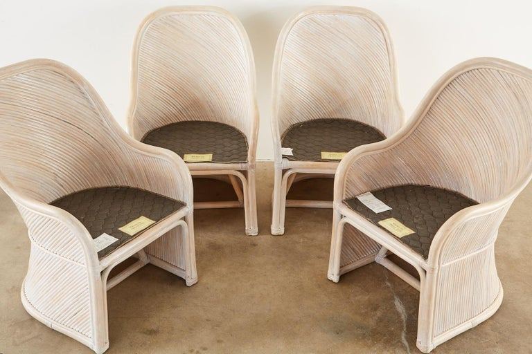 Set of Four McGuire Style Cerused Rattan Lounge Dining Chairs In Good Condition For Sale In Oakland, CA