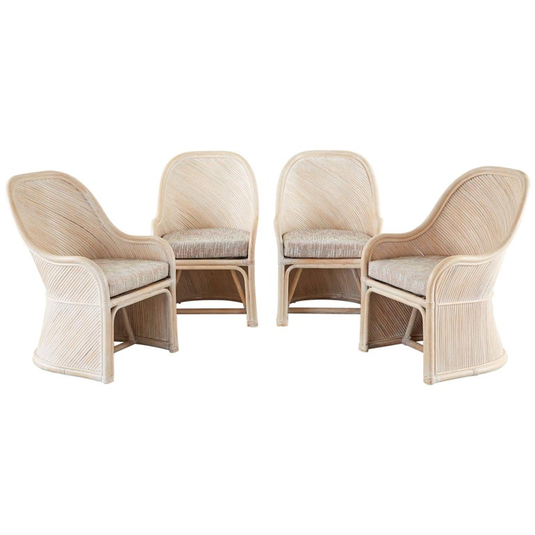 Set of Four McGuire Style Cerused Rattan Lounge Dining Chairs For Sale