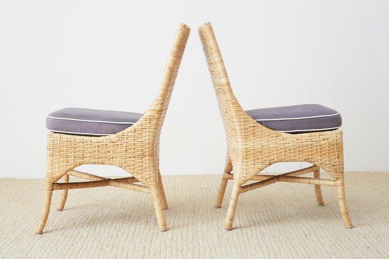 Set of Four McGuire Woven Rattan Wicker Dining Chairs For Sale 7
